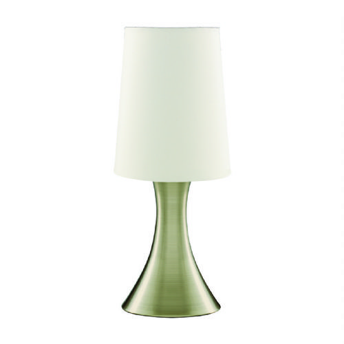Touch Table Lamp, Antique Brass Base, White Tapered Shade 3922Ab (Class 2 Double Insulated)